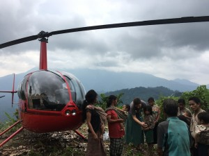 Heli in mountains with Carrie